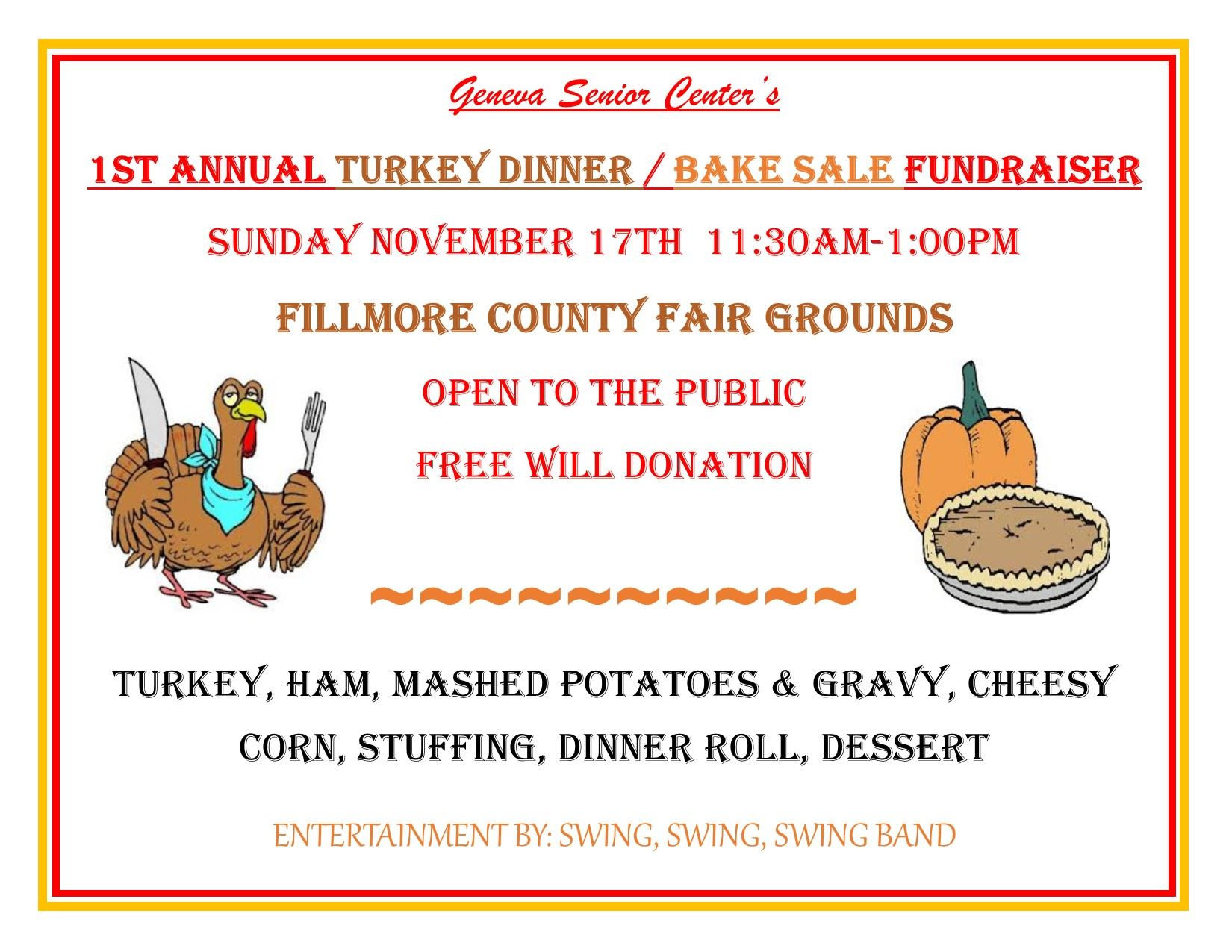 1st Annul Turkey Dinner flyer
