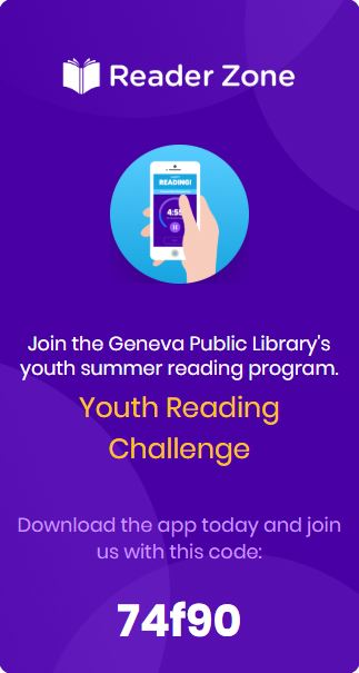 The ReaderZone youth reading program code is 74f90.